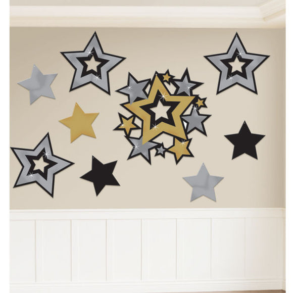 Pack of 30 Assorted Star Cutouts - Hollywood Themed Parties - Party Decorations