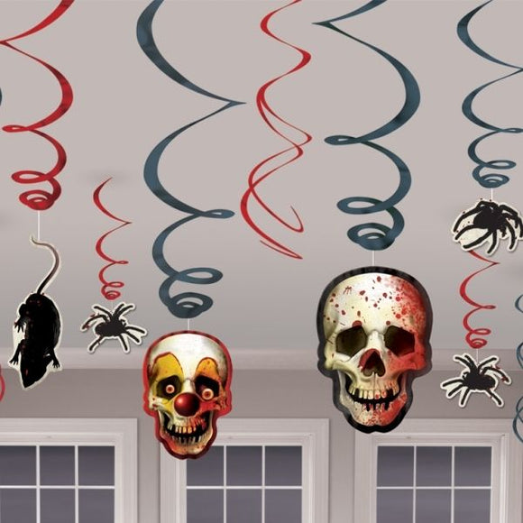 12 Piece Creepy Carnival Hanging Swirls - Spooky Halloween Party Decorations