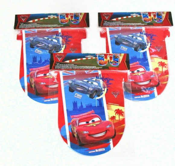 Pack of 3 Disney Cars Flag Banners - Lightning McQueen Pixar Party Decorations