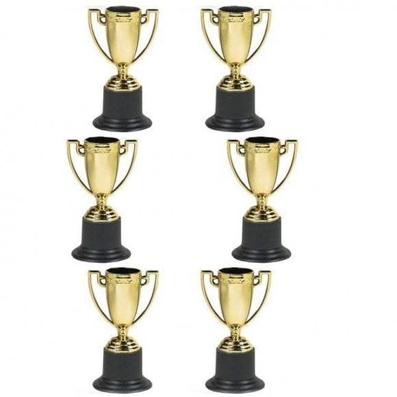 Pack of 12 Gold Award Trophies - Party Bag Fillers - World Games Golden Trophy