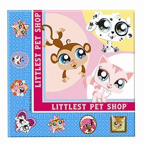 Pack of 16 Littlest Pet Shop Luncheon Napkins - 33 cm x 33 cm - Party Tableware