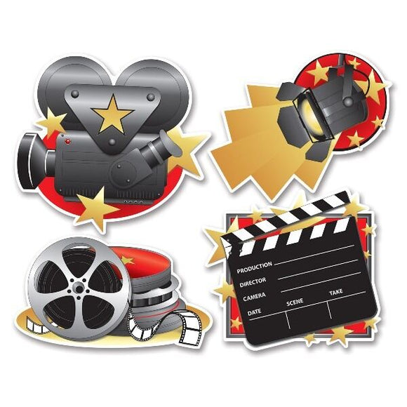 Pack of 4 Movie Set Cutouts Hollywood Movie Party Decorations - Wall Decoration