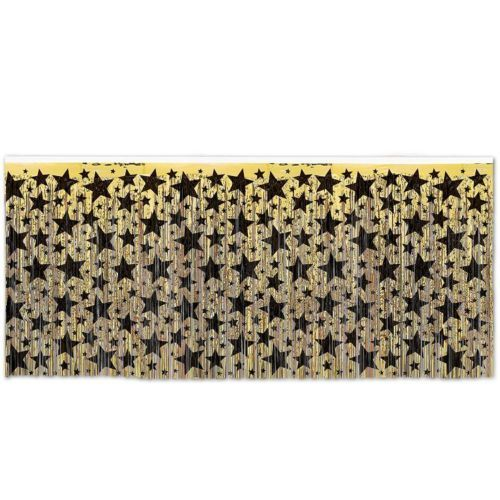 Gold Foil Table Skirt With Black Stars - 4.2m x 76cm - Hollywood Party Tableware