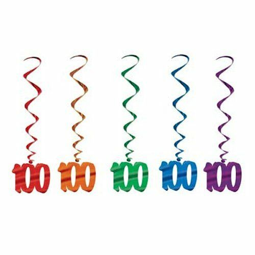 Pack of 5 100th Birthday Hanging Whirls - 91cm - Happy Birthday Party Decoration