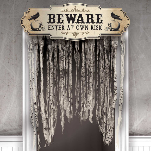 Beware Enter At Own Risk Door Curtain - Boneyard Halloween Party Decorations