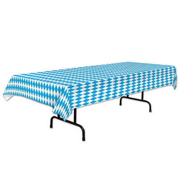 Blue and White Diamond check Table cover - Oktoberfest Party Tableware