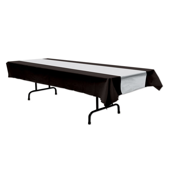 Black & Silver Plastic Table Cover - Hollywood Movie Night Party Tableware