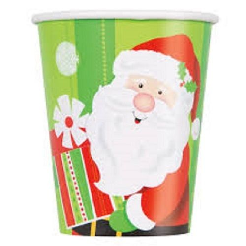 Pack of 8 Happy Santa 9oz Paper Cups - Christmas Party Tableware