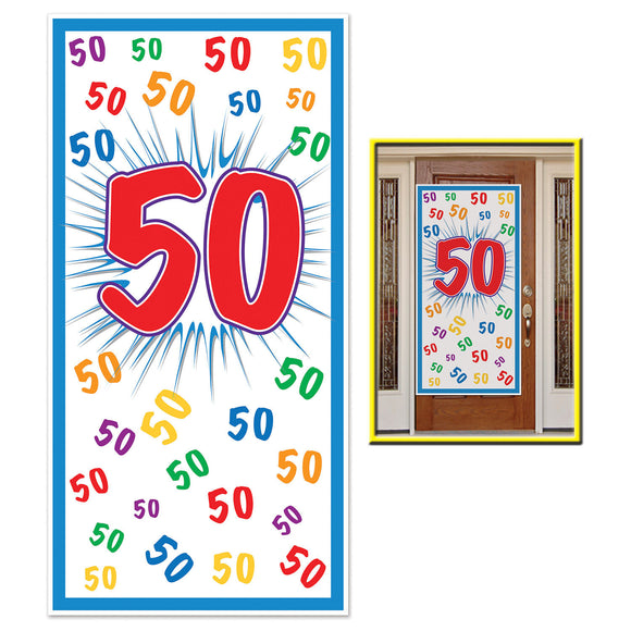50th Celebration Plastic Door Cover - 76 x 152cm - 50 Birthday Party Decorations