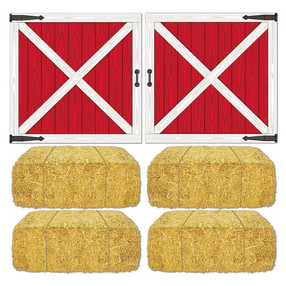 Barn Door & Hay Bale Party Prop - 81 x 83 cm - Scene Setter Setting Decorations