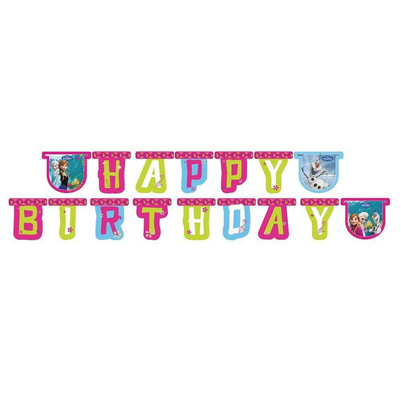 Disney Frozen Happy Birthday Jointed Letter Banner - Hanging Party Decorations