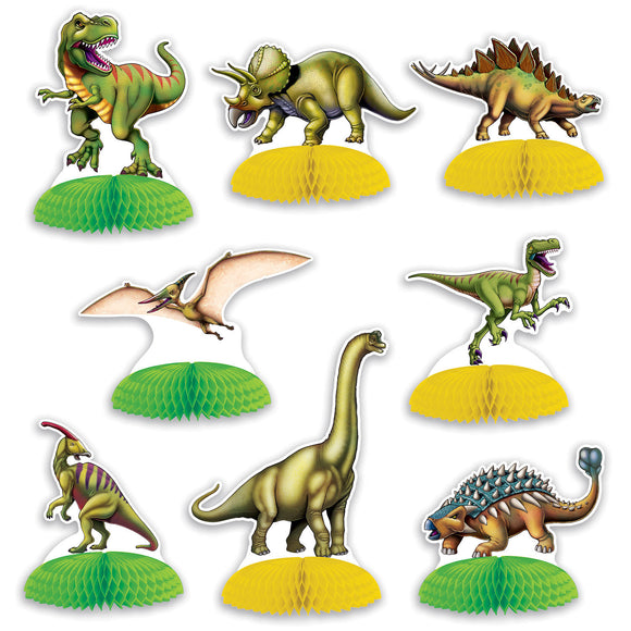 Pack of 8 Dinosaur Mini Centerpiece - Prehistoric Party Table Decorations