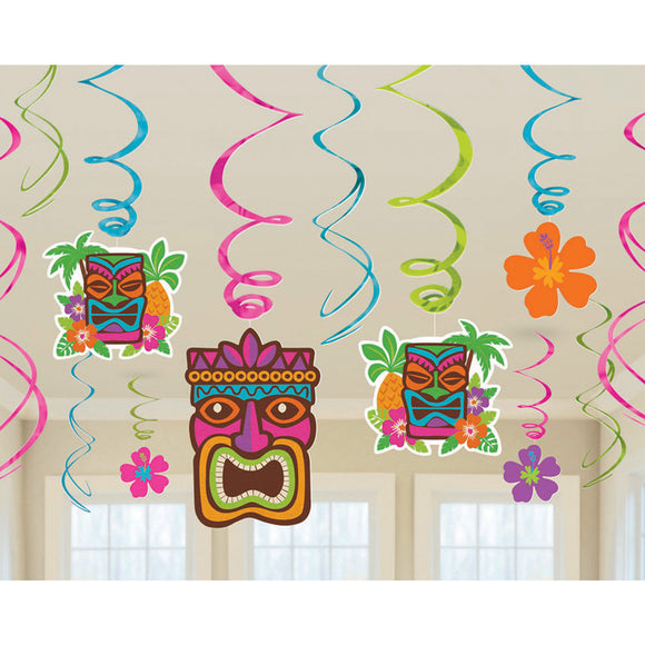 Pack of 12 Tiki Hawaiian Hanging Swirls Party Decorations - Summer Decoration