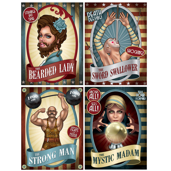 Pack of 4 Assorted Vintage Circus Poster Cutouts - Party Wall Decorations