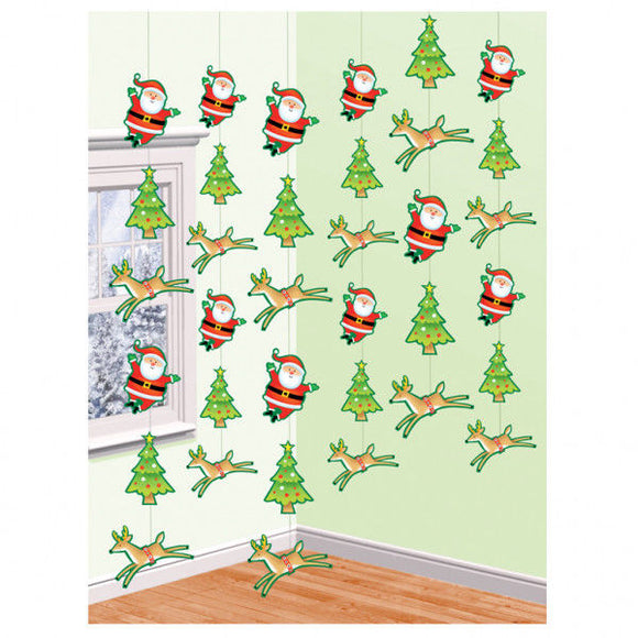 Santa and Reindeer 6 String Decorations - Christmas Hanging Party Decoration