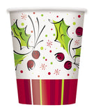 Pack of 8 Holly Pop Paper Cups - 270 ml - Winter & Christmas Party Tableware