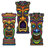 Pack of 3 Tiki Cutouts Decorations 22'' - Hawaiian Luau Themed Party Decoration