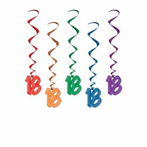 Pack of 5 18th Birthday Hanging Whirls - 91cm - Happy Birthday Party Decorations