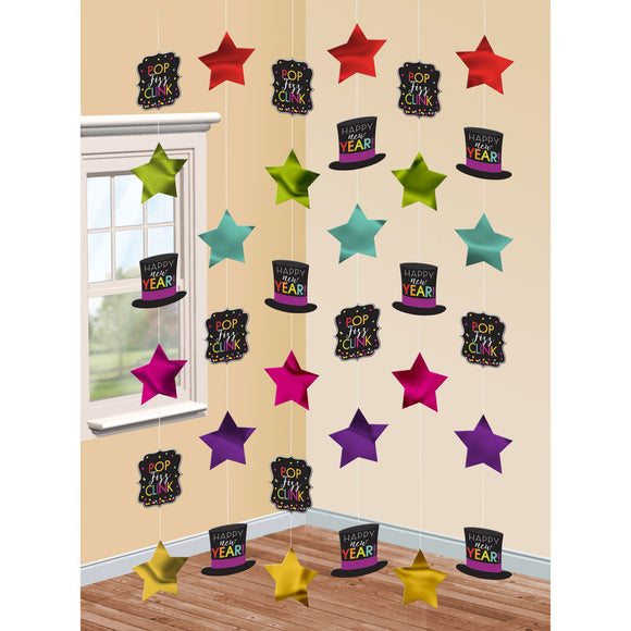 Pack of 6 Happy New Years String Decorations - New Year Hanging Party Decoration