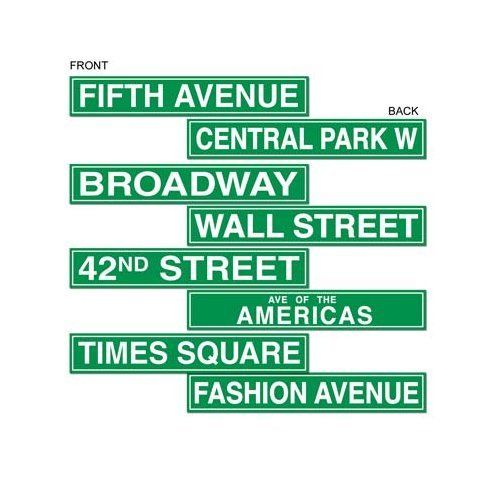 Pack of 4 Double Sided New York Style Street Signs - 10 x 61cm Party decorations