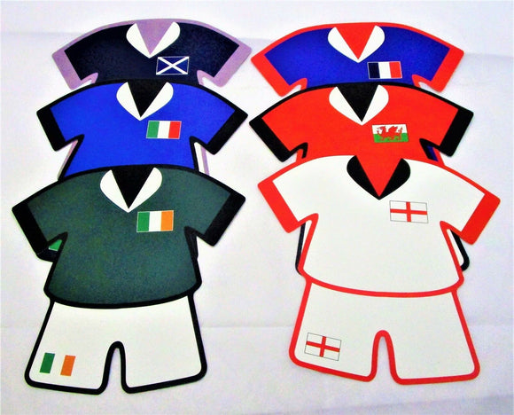 Pack of 6 Assorted Rugby Nations Kit Cutouts - Sports Party Wall Decorations
