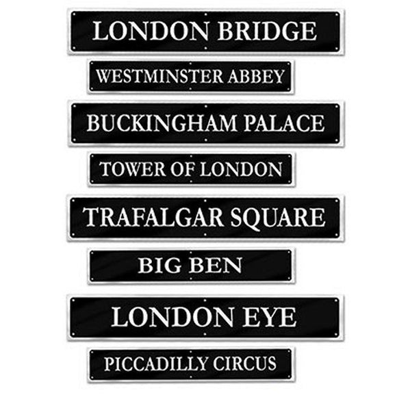 Pack of 4 Double Sided London Landmark Street Signs - British Party Decorations