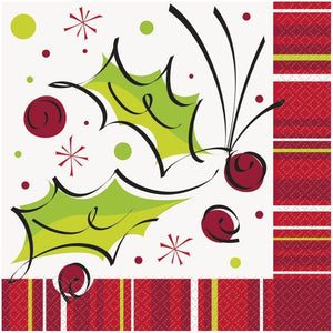 Pack of 16 Holly Pop 33cm Paper Napkins - Winter & Christmas Print Tableware