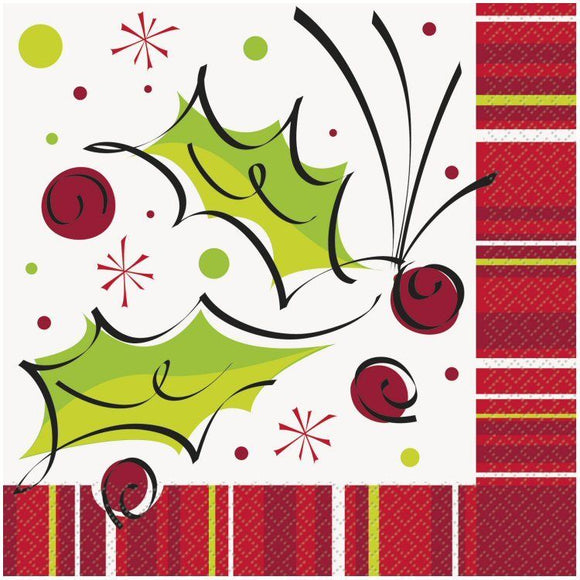 Pack of 16 Holly Pop Luncheon Paper Napkins - 33 cm - Christmas Party Tableware