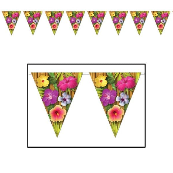 12ft Luau Pennant Flag Banner - 3.7m - Hawaiian Tropical Party Decorations