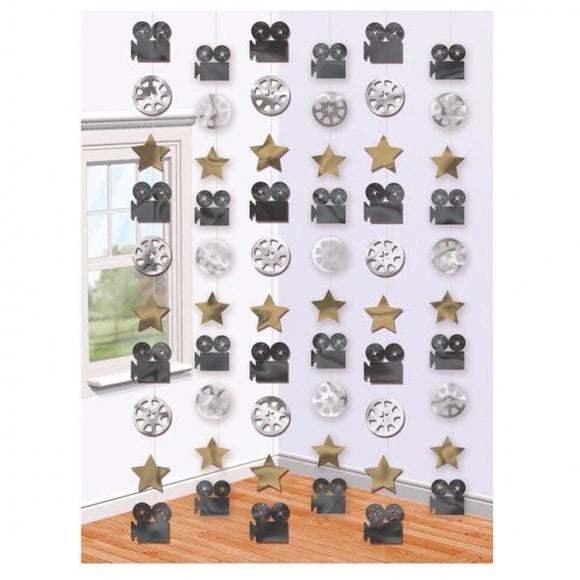 Pack of 6 Stars Film Reel & Movie Camera Hanging Hollywood Party Decorations