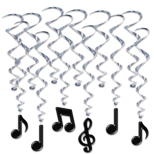 Pack of 12 Musical Note Hanging Whirls - Music Notes Party Decorations