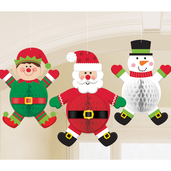 Pack of 3 Christmas Characters Honeycomb Decorations - Hanging Party Decoration