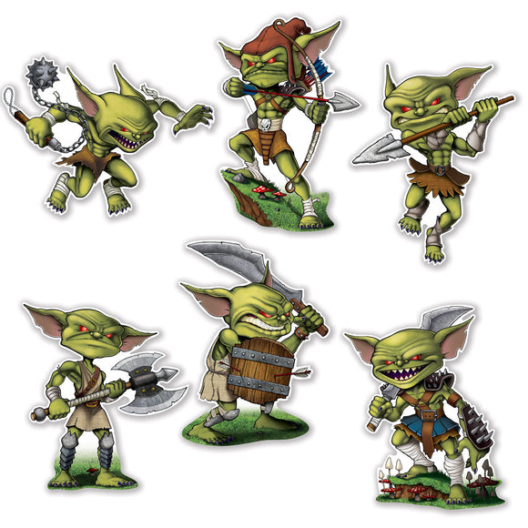 Pack of 6 Assorted Goblin Cutouts - Fantasy Goblins - Party Wall Decorations