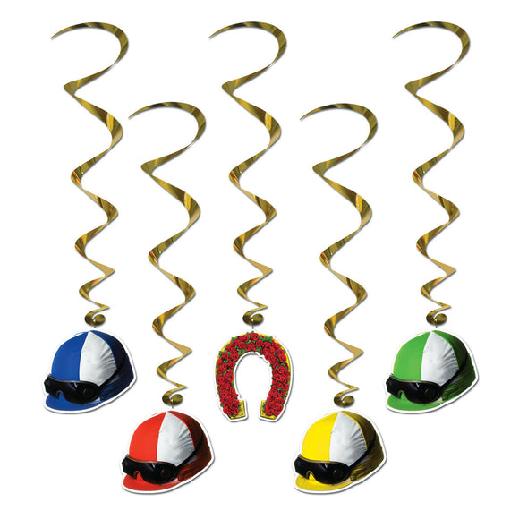 5 Piece Horse Racing Jockey Helmet Whirls - Derby Day Hanging Party Decorations