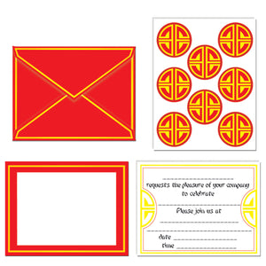 Pack of 8 Chinese Invitations and Seals - Chinese New Year Party Invites