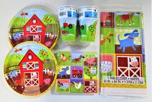 Farm Animal Party Tableware Pack for 16 People - Plates Cups Napkins Table Cover