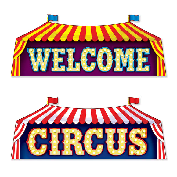 2 Piece Circus Sign Cutouts - Welcome To The Circus Party Decorations