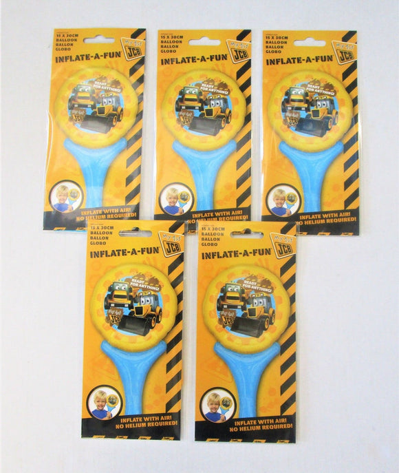 Pack of 5 My First JCB Air Filled Foil Balloons - 15 x 30cm - Kids Party Balloon