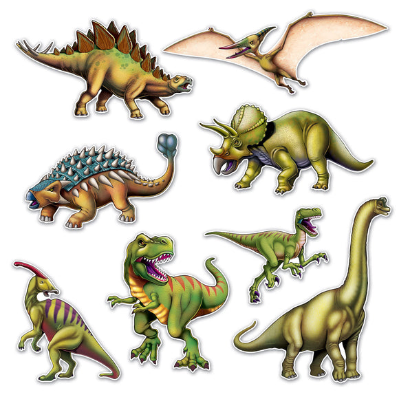 Pack of 8 Assorted Dinosaur Cutouts - Prehistoric Animals Party Wall Decorations