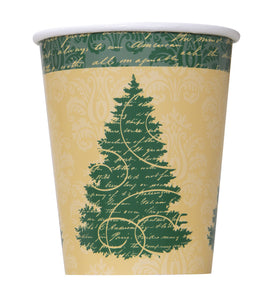 Pack of 8 Elegant Christmas Paper Cups - 260ml - Winter & Xmas Party Tableware