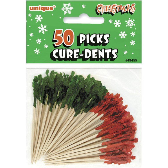 100 Red and Green Frill Food Picks - Christmas & Winter Dining Party Decorations