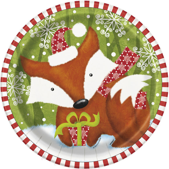 Pack of 8 Christmas Woodland Friends Paper Plates - 23 cm - Xmas Party Tableware