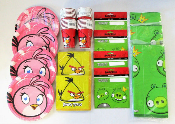 Angry Birds Party Tableware and Decorations Pack for 30 People - Plates Cups etc