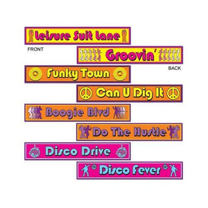 Pack of 8 Disco Street Signs - 10 x 61 cm - Disco & Musical Party Decorations
