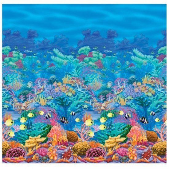 Coral Reef Scene Setter Room Roll - 1.2 x 12.2m - Tropical Sea Party Decorations