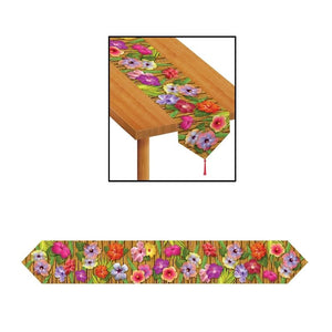 Luau Hibiscus Printed Table Runner - 1.8 m Tropical Party Tableware Decorations