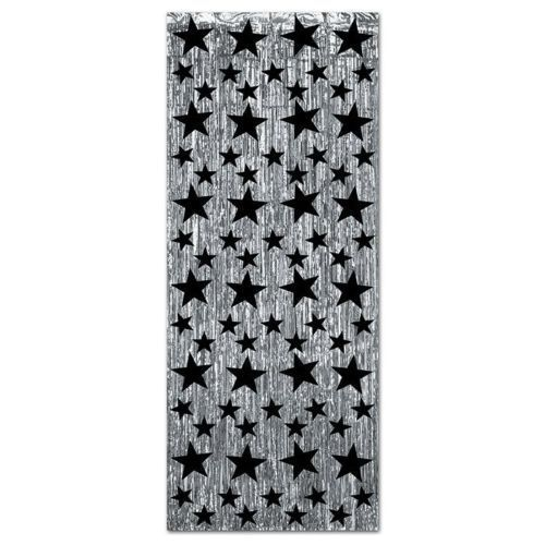 Silver Door Curtain With Black Stars - 240 x 91 cm - Hollywood Party Decorations