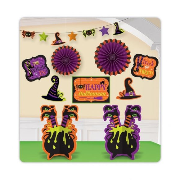 10 Piece Witch and Spiders Halloween Party Kit - Halloween Room Decorating Kit