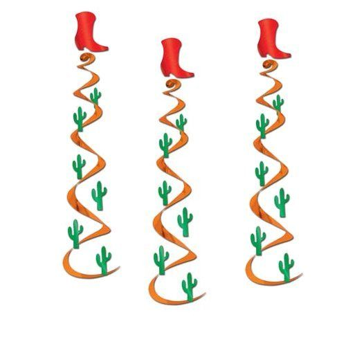 Pack of 3 Cactus & Cowboy Boot Hanging Whirls - 76 cm Long - Party Decorations