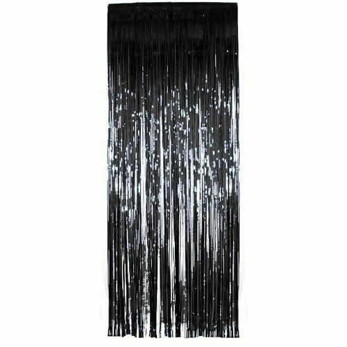 Pack of 50 Black Shimmer Foil Door Curtain decorations Christmas Curtains Party